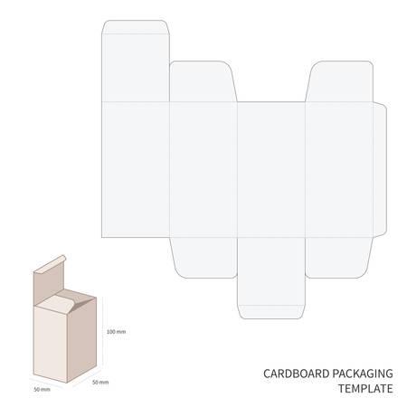 절단 및 절곡 구성표와 벡터 골판지 포장 템플릿 스톡 콘텐츠 - 33628925