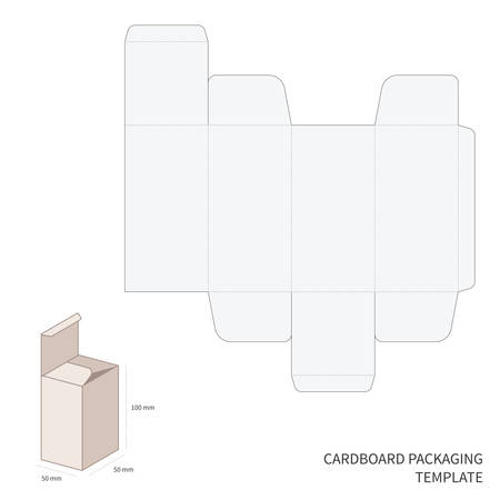 Vector cardboard packaging template with cutting and bending scheme