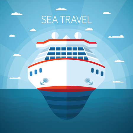 ocean liner: Sea or ocean cruise vector concept in flat style Illustration