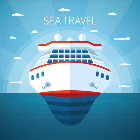 Sea or ocean cruise vector concept in flat style Ilustração