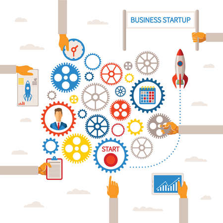 Vector template of business start infographic concept with gears scheme Illustration