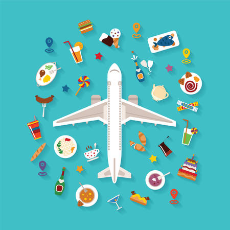 tourism industry: Vector flat style icon set for tourism industry travelling on airplane planning vacations