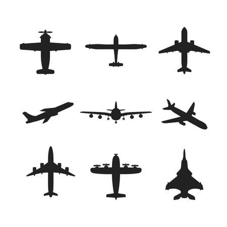 fixed wing aircraft: Different monochrome vector airplanes icon set Illustration