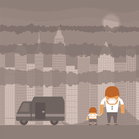 Vector urban ecology concept or background with cityscape and smoke clouds