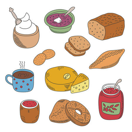 pied: Set of vector pied doodle food icons like soup jam coffee cheese pie patty and ice ream in flat style
