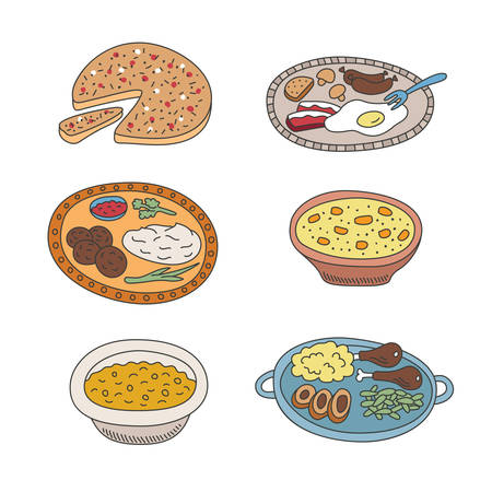 pied: Set of vector pied doodle food icons like  in flat style