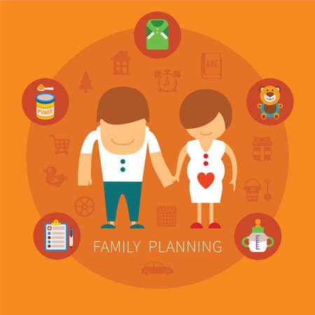 planificacion familiar: Familia concepto de planificaci�n del vector con los iconos de art�culos para beb�s Vectores