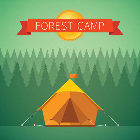 forest: Forest camping vector concept with tourist tent Illustration