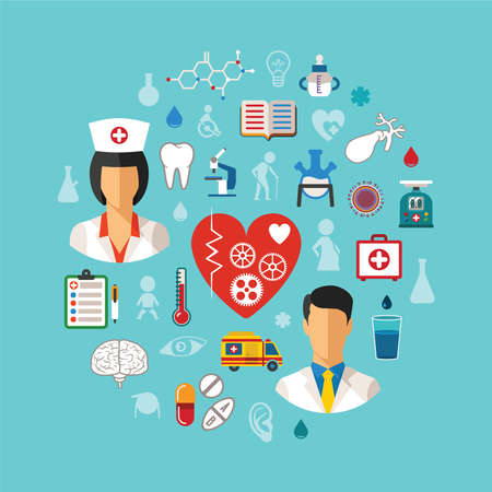 Vector healthcare concept with flat design icons