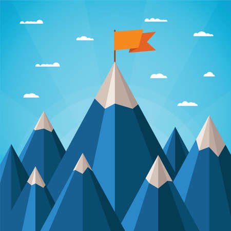 achieve goal: Vector success or leadership concept with mountain landscape