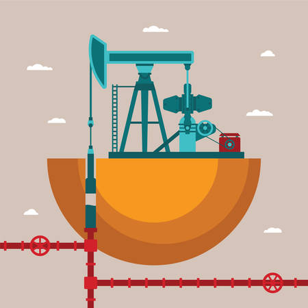 oil well: Vector concept of oil well with pipes network