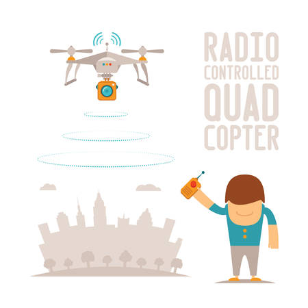 drone: Vector concept of quadcopter air drone with remote control Illustration