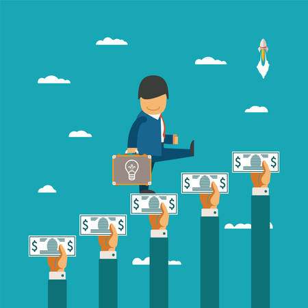 Crowdfunding concept with hands holding money like ladder of success Stock Illustratie