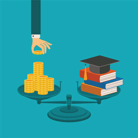 high scale: concept of investment in education with coins books and scales