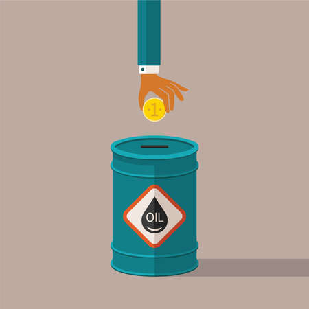 Concept van de minerale olie-industrie prijzen en kosten Stockfoto - 35145159