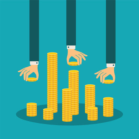 debt collection: financial management concept with stack of golden coins