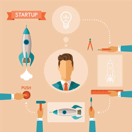 rocket man: concept of business startup with space rocket construction process Illustration