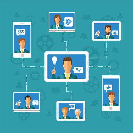Vector Crowdfunding-Konzept mit Computer und Mobilgeräte Netzwerk