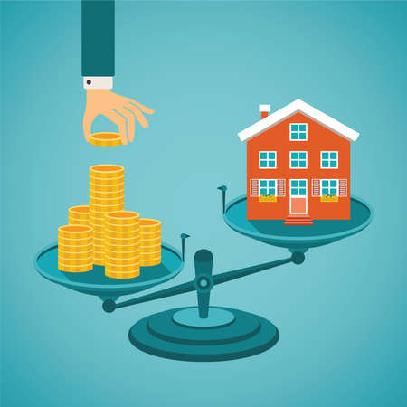 Vector concept of investment in real estate like townhouse