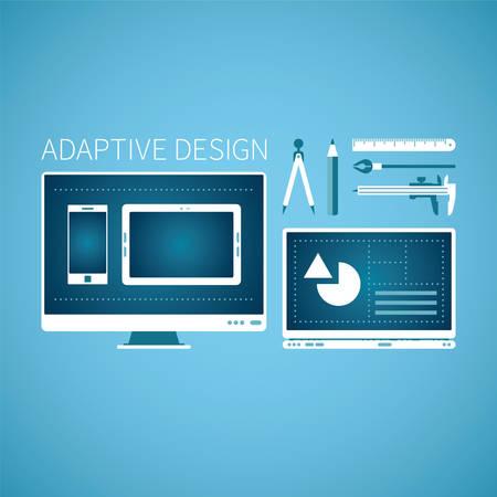 adaptive: Adaptive web graphic design development vector concept in flat style