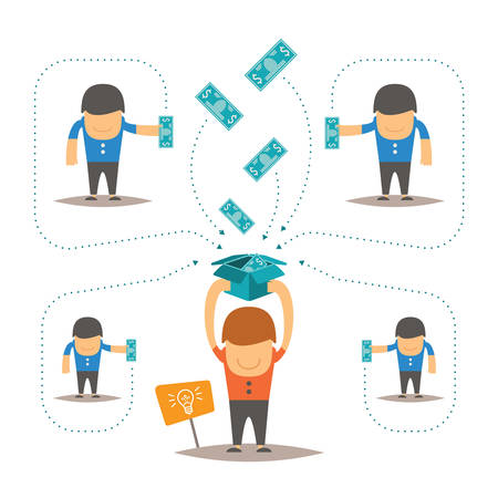 Crowdfunding vector concept with man collecting money in box