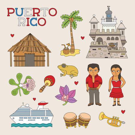 chaume: Art Doodle Vector Puerto Rico pour Voyage et Tourisme