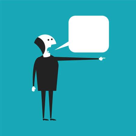 barker: Speaking businessman vector concept in flat cartoon style