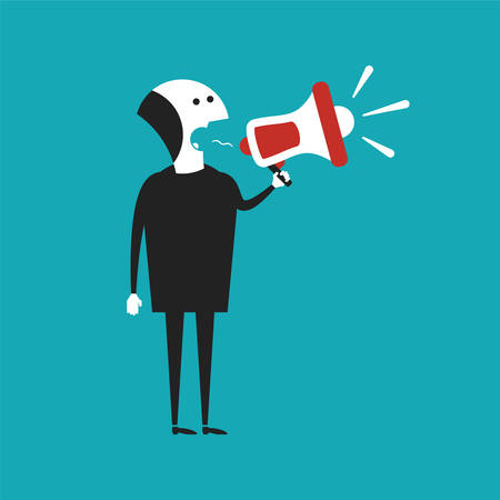 man scolding: Businessman shouting in megaphone vector concept in flat cartoon style Illustration
