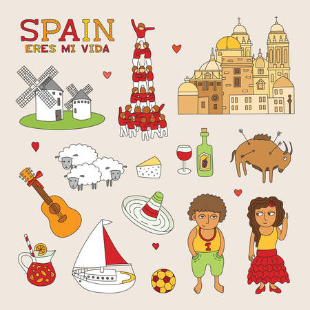 Spain Doodle Art for Travel and Tourism