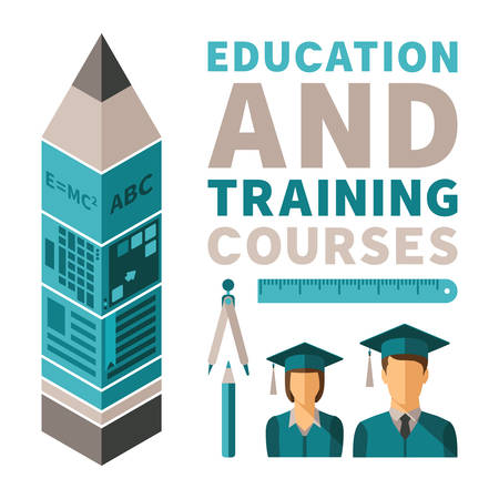 Education and training courses concept in flat style