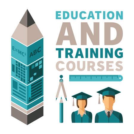corsi di formazione: Formazione e corsi di formazione concetto in stile appartamento Vettoriali