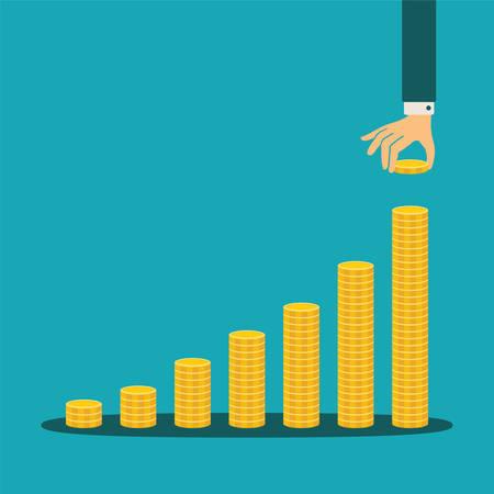 efectivo: concepto de crecimiento financiero con montones de monedas de oro
