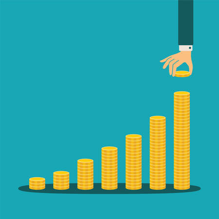 upward graph: financial growth concept with stacks of golden coins