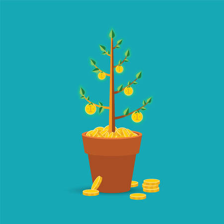 style wealth: money tree concept in flat style