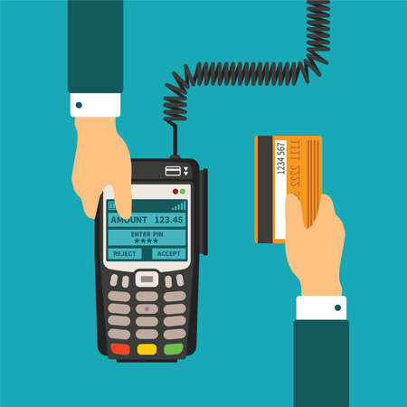 holding credit card: Electronic payment usage concept in flat style Illustration