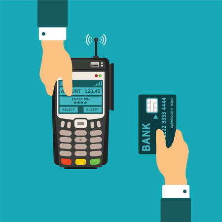 Electronic payment usage concept in flat style  イラスト・ベクター素材