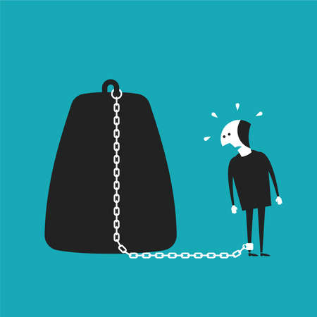 Chained businessman concept in flat cartoon style