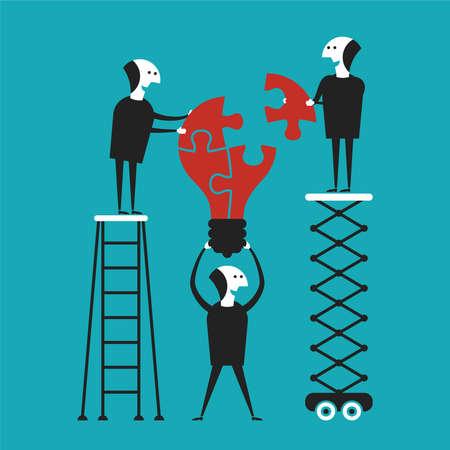 leadership key: Creative teamwork concept in flat cartoon style
