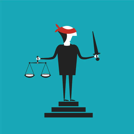 estatua de la justicia: Concepto de Justicia en el estilo de dibujos animados plana