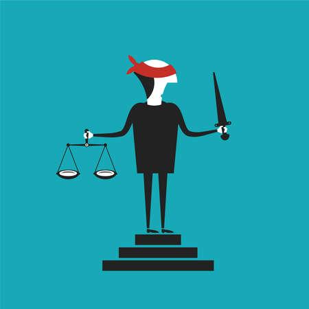 Justice concept in flat cartoon style Vektorové ilustrace