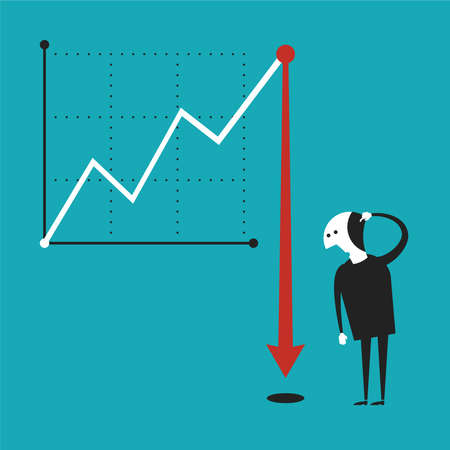 economic downturn: Business activity decline concept in flat cartoon style Illustration