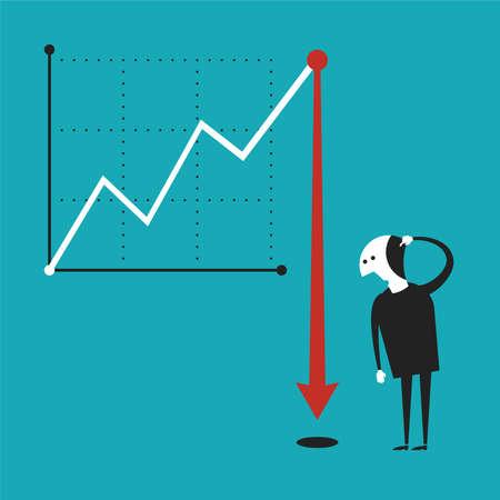 decline: Business activity decline concept in flat cartoon style Illustration
