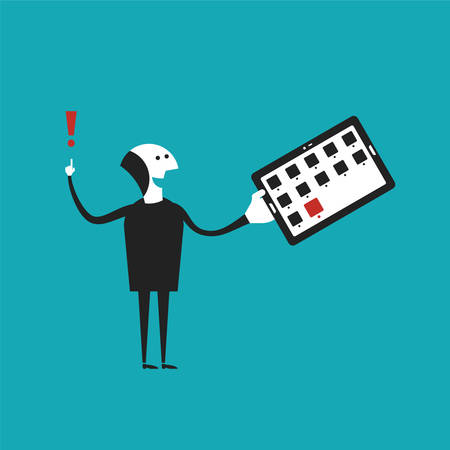dude: Man holding tablet pc concept in flat cartoon style