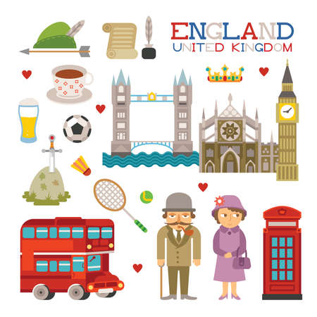 london tower bridge: England flat style art for travel and tourism