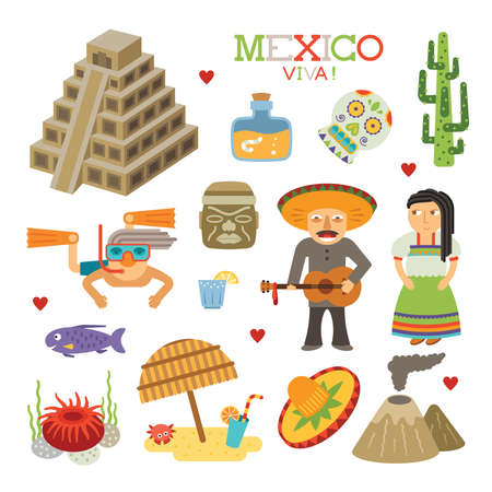 actinia: Mexico flat style art for travel and tourism