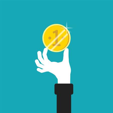 Golden coin in hand vector concept in flat style Ilustração Vetorial