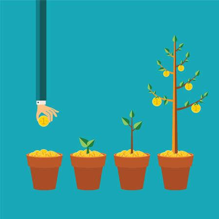 crecimiento personal: concepto de crecimiento de los árboles dinero en estilo plano