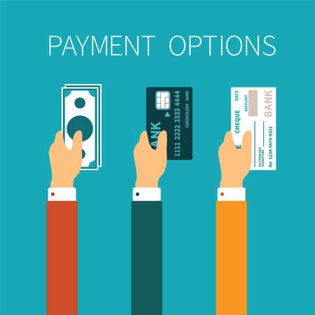 concept van de betalingsmogelijkheden in vlakke stijl Stock Illustratie