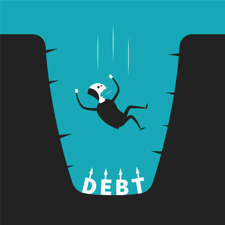 pitfall: concept of debt pit in flat cartoon style Illustration