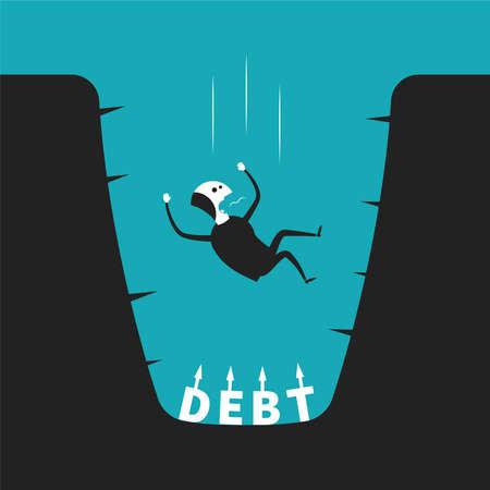 Konzept der Schulden Grube in flachen Cartoon-Stil Illustration